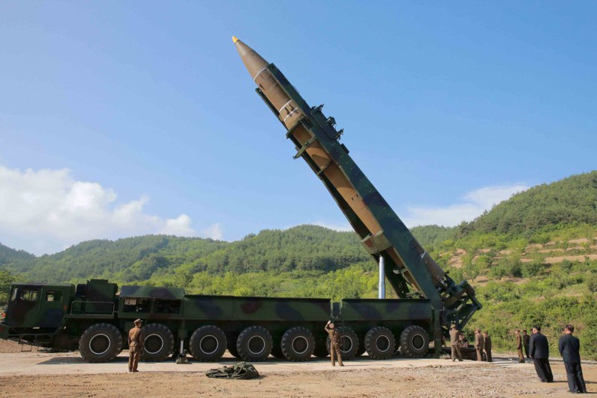 North Korea News agency photo of missile